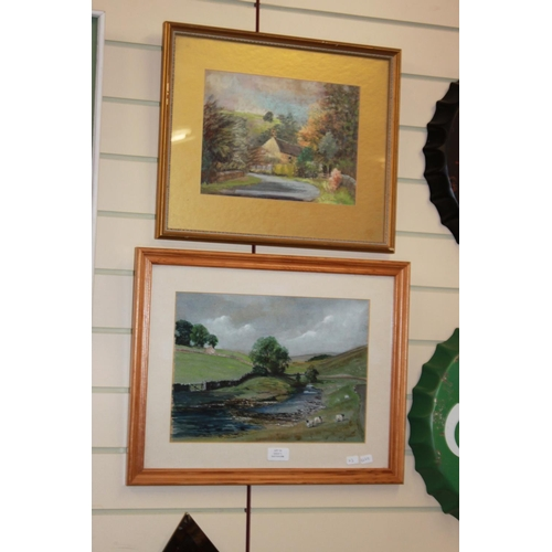 35 - 1 x framed pastel cottage scene and 1 x country scene langsteth dale 88 both unknown artist...