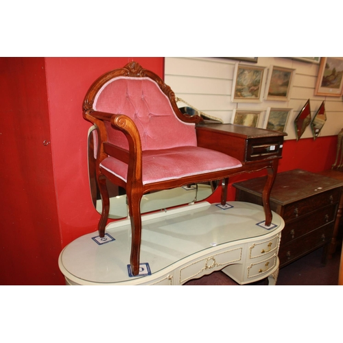 46 - 1 x mahogany pink upholstery telephone table...