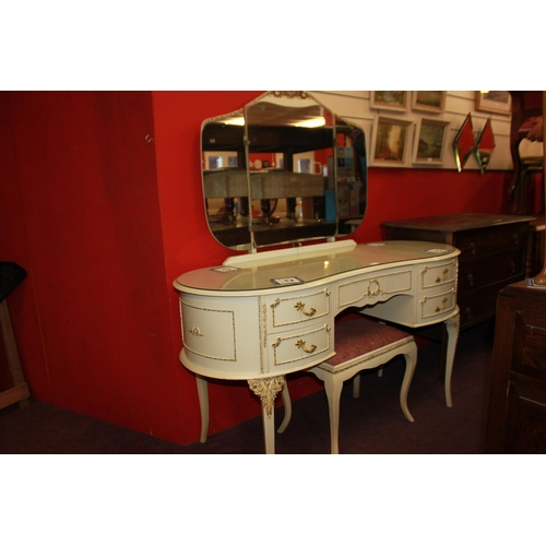47 - 1 x kidney shape glass topped dressing table with mirror and stool...
