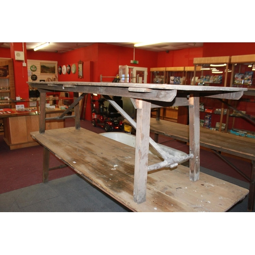 6 - 1 x large Victorian pine campaign table 9 ft long with metal fasteners...