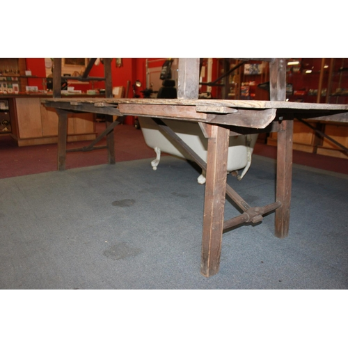 7 - 1 x large Victorian pine campaign table 9 ft long with metal fasteners...
