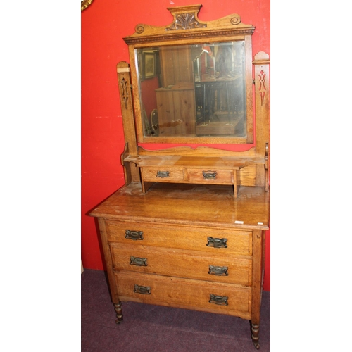 21 - 1 x 1930s oak mirror back dressing table