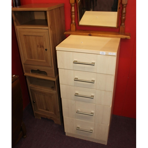 23 - 2 x bedside cabinets with 5 drawer chest of drawers