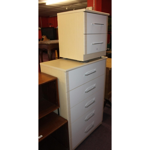 28 - 1 x alstons bedside cabinet with matching 5 drawer chest of drawers