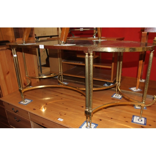 38 - 1 x set of brass bottom 1960s glass topped tables