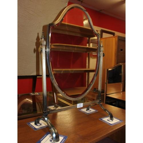 45 - 1 x Edwardian metal framed shield shape mirror