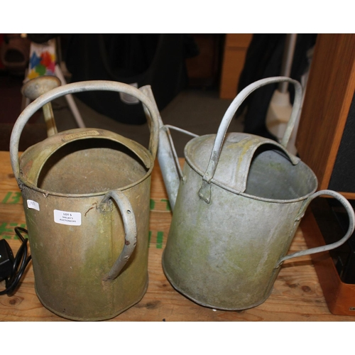 5 - 2 x metal 1 gallon watering cans