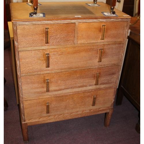 50 - 1 x vesper oak 5 drawer chest of drawers