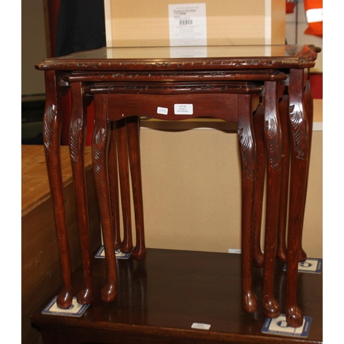 53 - 1 x nest of three glass topped tables