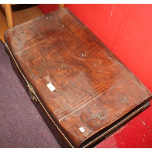 56 - 1 x metal travelling trunk