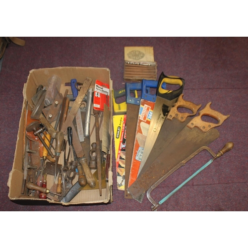 9 - 1 x box containing various wood working tools saws etc