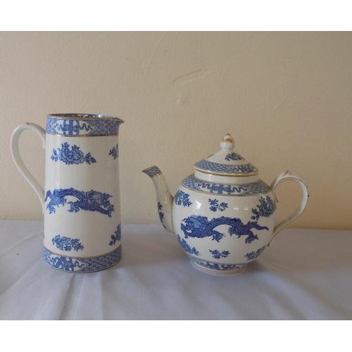 19 - Booth China Dragon Pattern Teapot & Jug (2)...