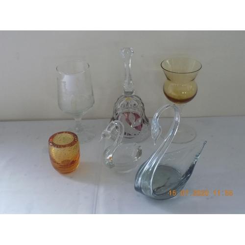 22 - Glass Items - Swans, Bells, etc (6)...