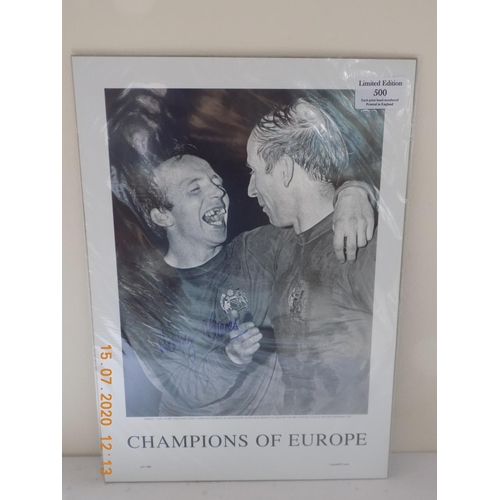 23 - Champions of Europe Limited Edition of 500 Poster. Signed by Nobby Stiles....