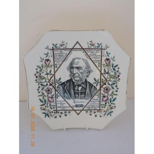 40 - Victorian Wallace Gimson & Co Plate depicting William Gladstone...