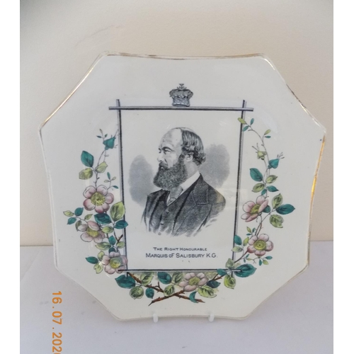 41 - Victorian Wallace Gimson & Co Plate depiciting The Marquis of Salisbury....