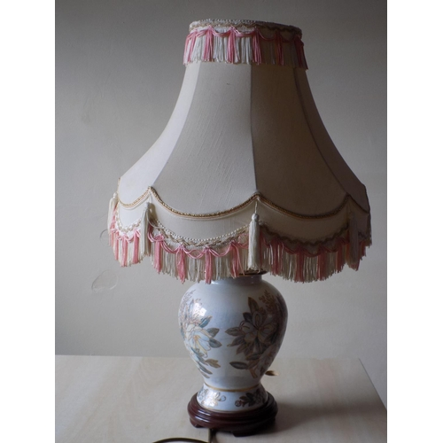 55 - Floral Patterned 67cm Lamp with Shade. THIS LOT IS COLLECTION ONLY....