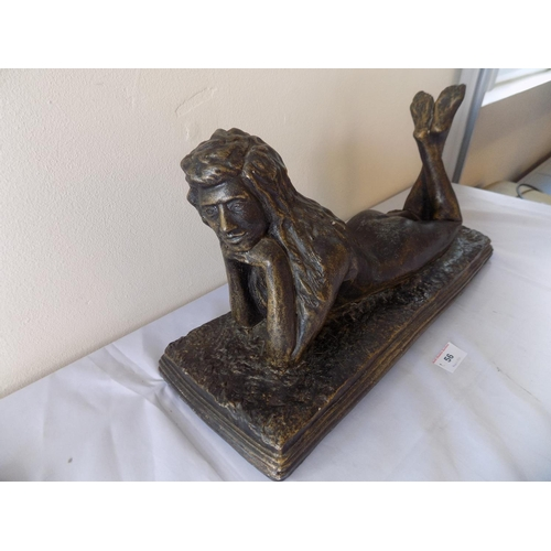 56 - Bronzed Effect Stone Lady Figurine on Plinth. THIS LOT IS COLLECTION ONLY...