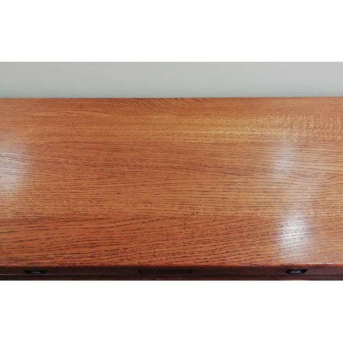 25 - Heavy Oak Hall Table with Drawers, 110 x 40 x 74. Marked 'Sherry'. This item is Collection only....