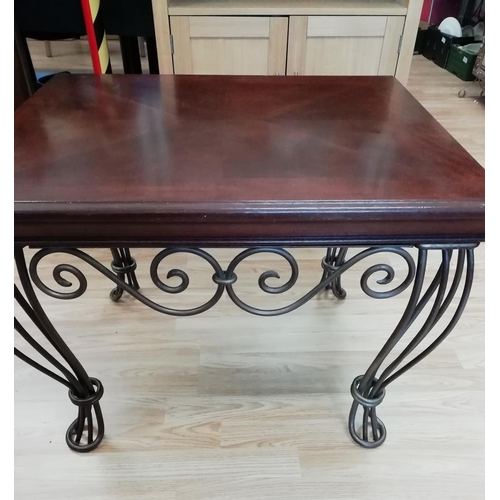 26 - Wooden Topped Table with Wrought Iron Legs 71 x 59cm, 53cm High. This Item is Collection Only....