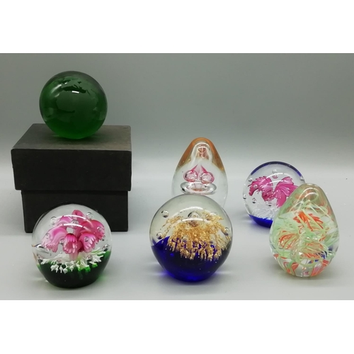 3 - 6 Glass Paperweights including Boxed Globe...
