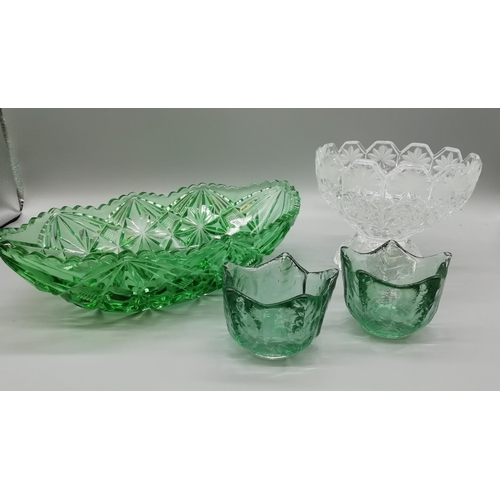 33 - Glass Items, Green and Clear (4)...