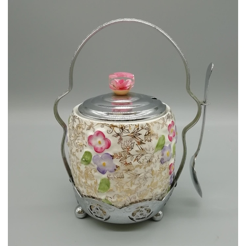 49 - Wade Pottery and Silver Plated Sugar Bowl with Lid...