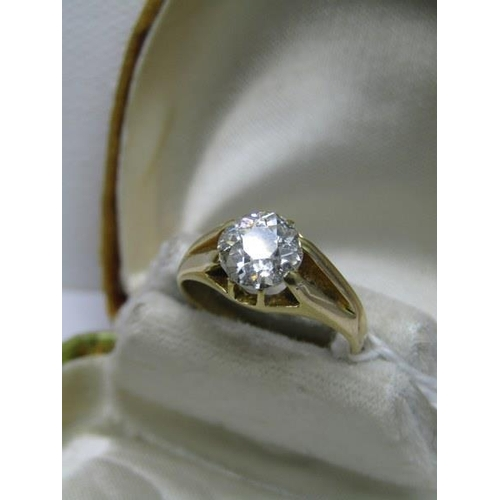 387 - 18CT YELLOW GOLD DIAMOND SOLITAIRE GYPSY RING, diamond measuring approximately 2 carat, old cut diam...
