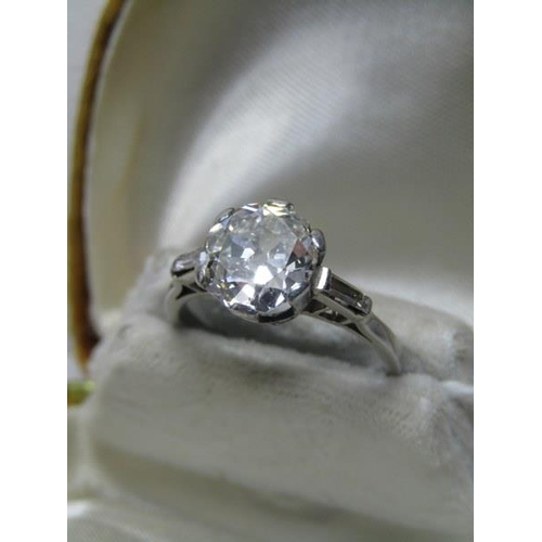 399 - PLATINUM DIAMOND SOLITAIRE RING, old cut diamond measuring approximately 2.50 carat of good colour a...
