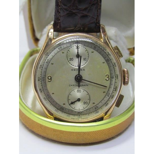 400 - 18CT YELLOW GOLD ORFINA CHRONOGRAPH WRIST WATCH...