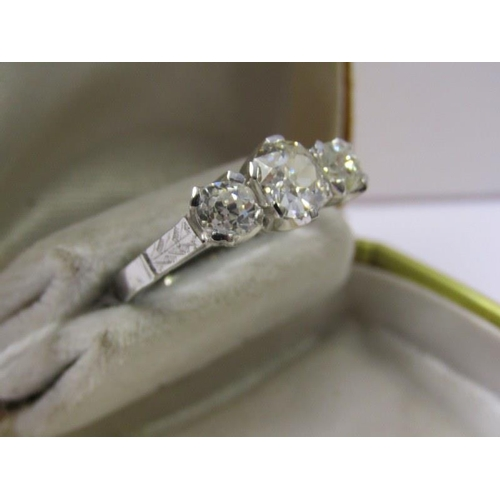 414 - 18ct WHITE GOLD 3 STONE DIAMOND RING, old cut diamonds of good colour and clarity, centre diamond ap...