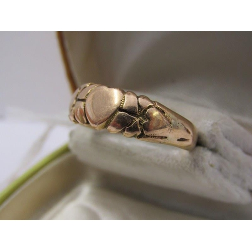 469 - VINTAGE 9ct YELLOW GOLD CLADDAGH STYLE SWEETHEART RING, size R/S, 3.8 grams...