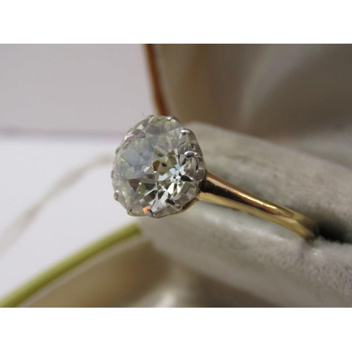 470 - 18ct YELLOW GOLD DIAMOND SOLITAIRE RING, outstanding old cut diamond in 12 claw setting, stone appro...