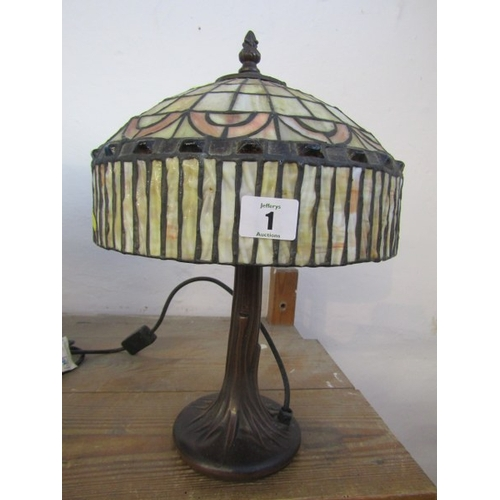 1 - TIFFANY STYLE TABLE LAMP, leaded glass bronzed base table lamp...