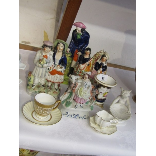 11 - STAFFORDSHIRE POTTERY, 4 Victorian Staffordshire pottery groups ; also Regency floral painted spill ...