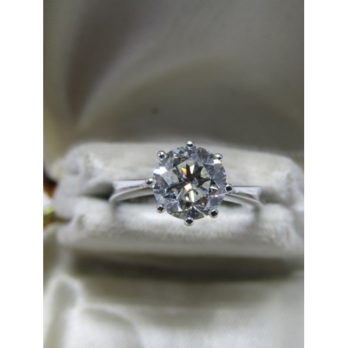 139 - 18ct WHITE GOLD DIAMOND SOLITAIRE RING, old cut diamond approx 7.8mm, approx 2ct, diamond is of good...