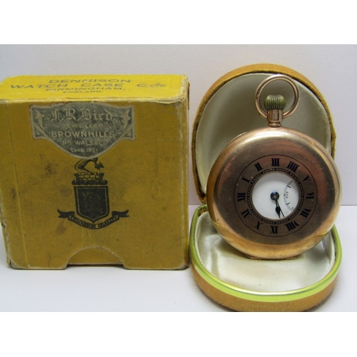 140 - 9ct GOLD GENTLEMAN'S HALF HUNTER POCKET WATCH in leather case and original cardboard box, watch has ...