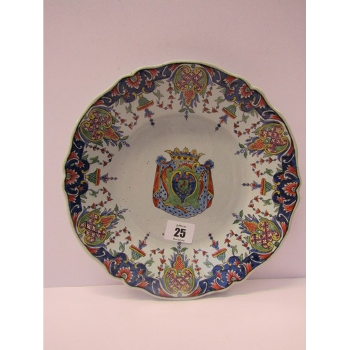 25 - FAIENCE, 19th Century Armorial wall plate...