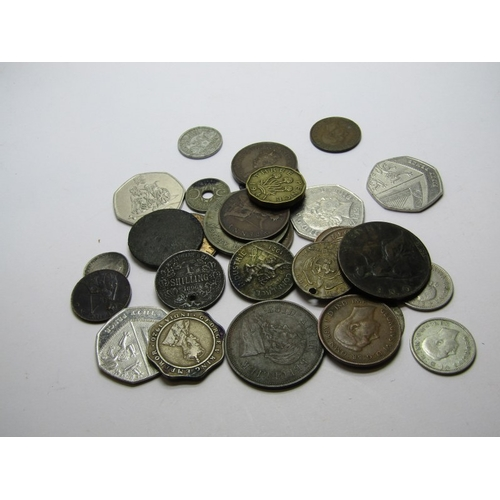 BAG OF COINS, containing some half silver, copper tokens