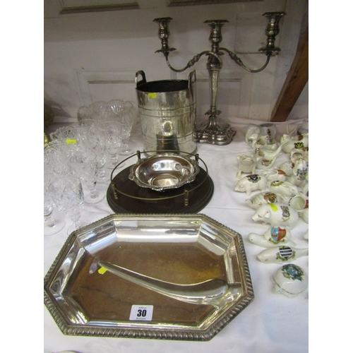 30 - SILVER PLATE, twin branch candelabra, ice bucket, galleried tray etc,...