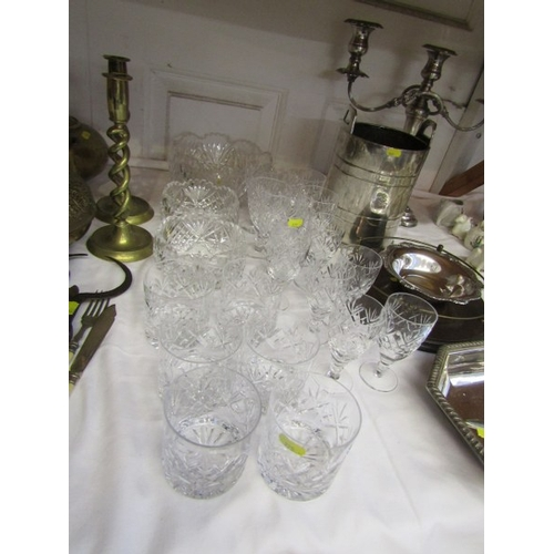 31 - CUT GLASS WARE, set of 6 cut glass tumblers and matching glasses together with 3 graduated fruit bow...