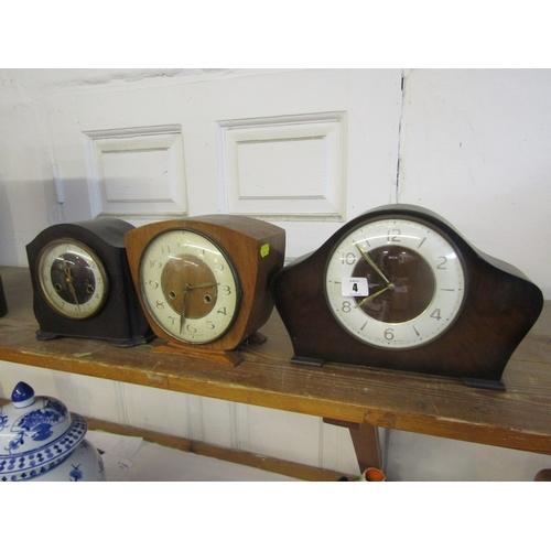 4 - MANTEL CLOCK, brown bakelite mantel clock by Smith, and 2 retro design mantel clocks...