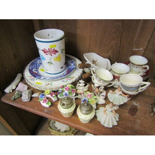 43 - DRESDEN FIGURES, pair of Worcester condiments and decorative china...