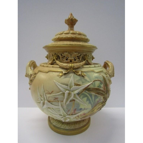 1 - ROYAL WORCESTER, blush ground spherical lidded twin handled vase decorated with relief orchids by Ja...
