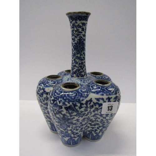13 - ORIENTAL CERAMICS, a fine 5 lobed bulb pot, decorated with underglaze blue foliate scroll design, 10...