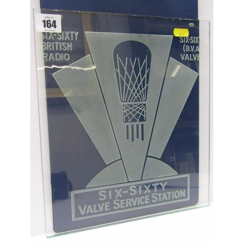 164 - RADIO ADVERTISING, an etched glass advertising panel