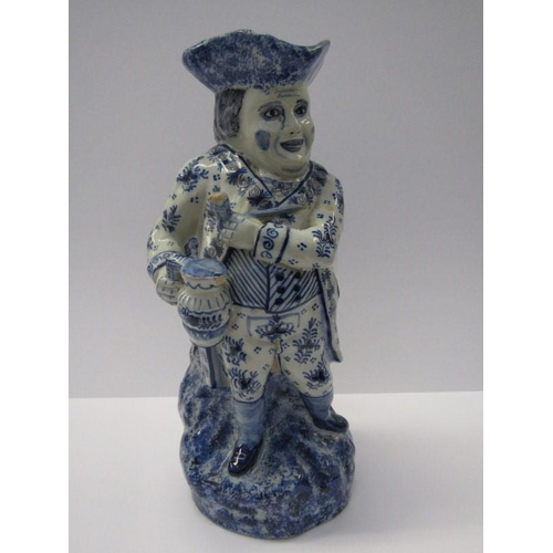 2 - DELFT TOBY, blue sponged Delft standing toby jug, 11.5