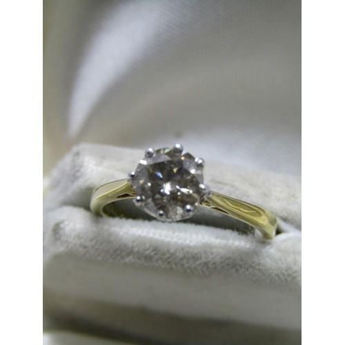431 - 18ct YELLOW GOLD DIAMOND SOLITAIRE RING, transitional cut diamond approx 1ct in 8 claw setting with ...