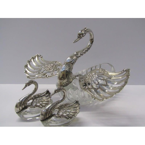 655 - SILVER & CRYSTAL SWAN CONSERVES, set of 3 crystal conserves with silver mounts in the form of swans ...
