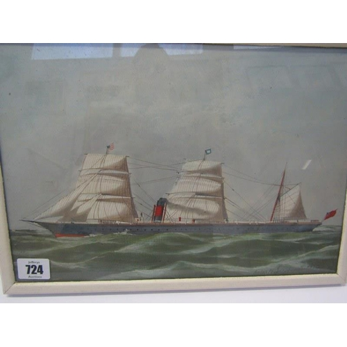 724 - ANTONIO JACOBSEN, signed painting dated 1874